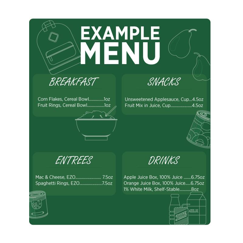 Example Menu for Backpack Meals Program